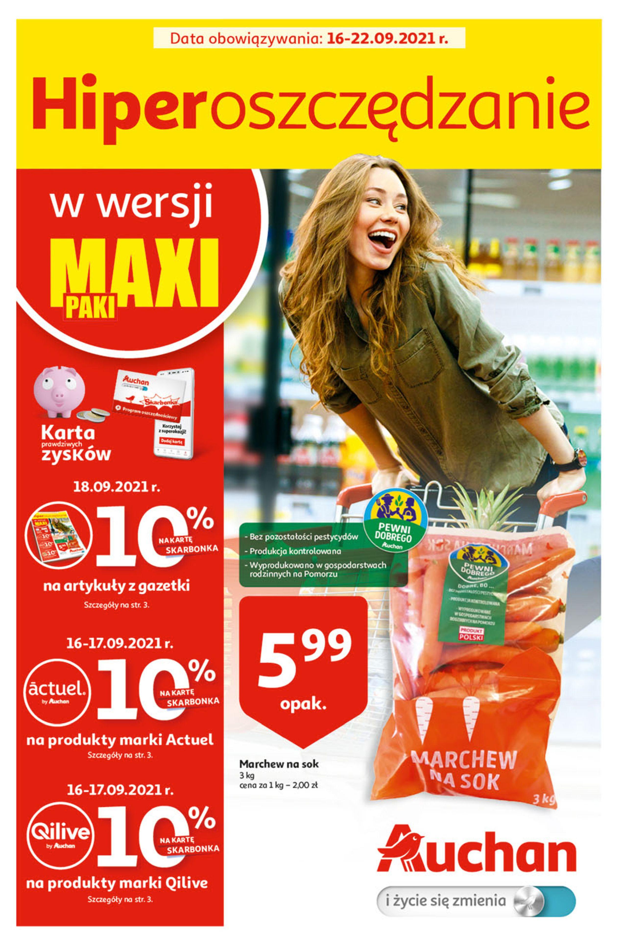 Gazetka Auchan: Gazetka Auchan - Hiperoszczędzanie w wersji Maxi Paki Hipermarkety 2021-09-16 page-1
