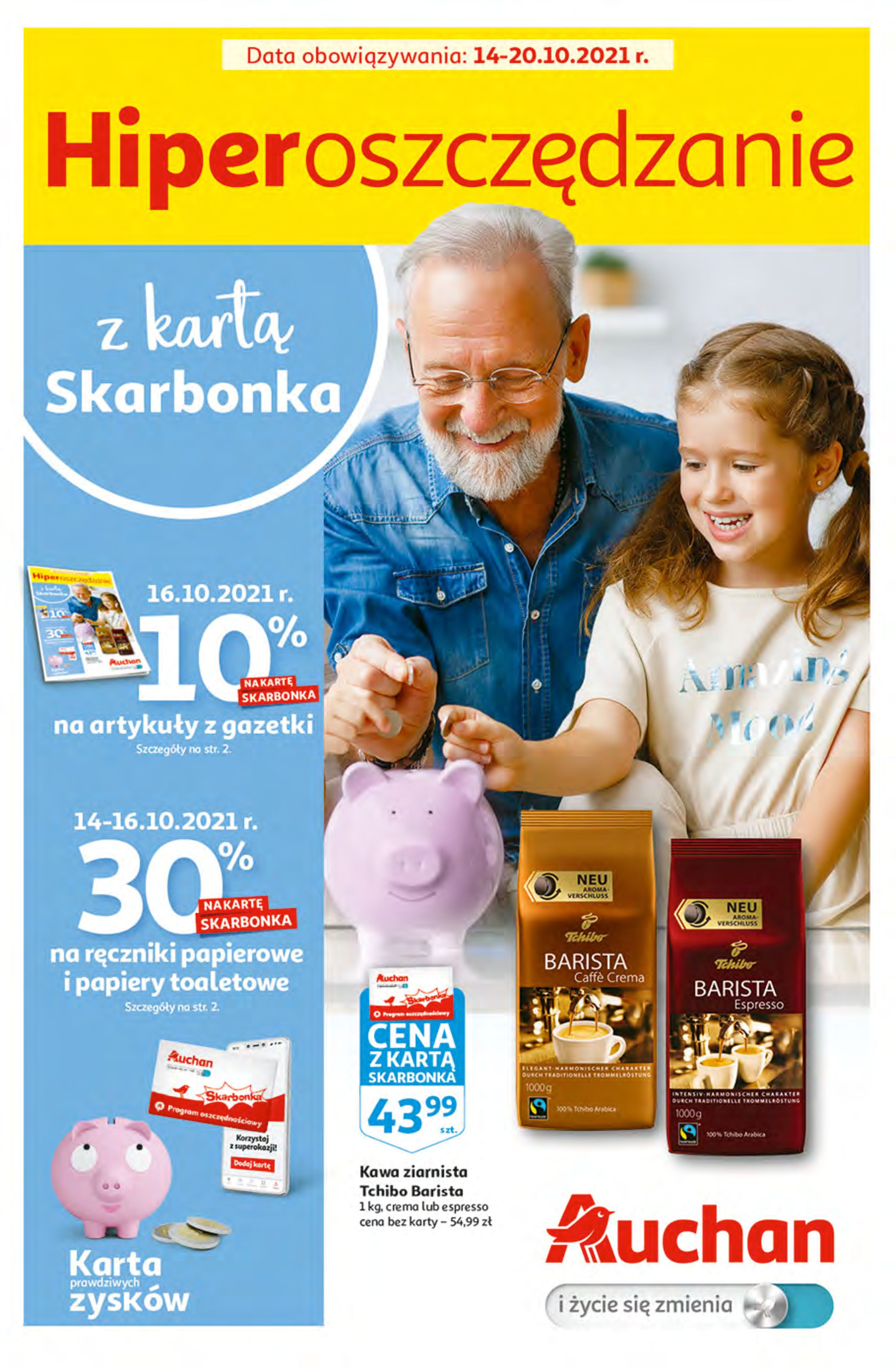 Gazetka Auchan: Gazetka Auchan - Hiperoszczędzanie z Kartą Skarbonka 2 Hipermarkety 2021-10-14 page-1