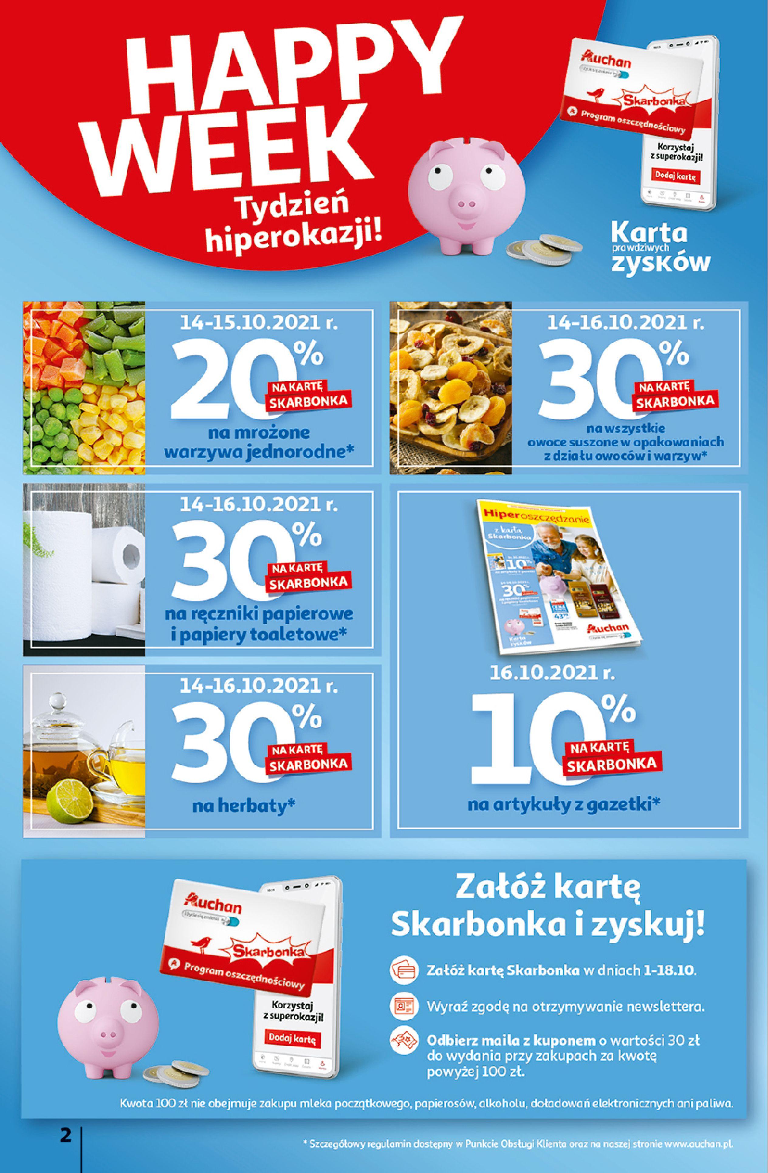 Gazetka Auchan: Gazetka Auchan - Hiperoszczędzanie z Kartą Skarbonka 2 Hipermarkety 2021-10-14 page-2