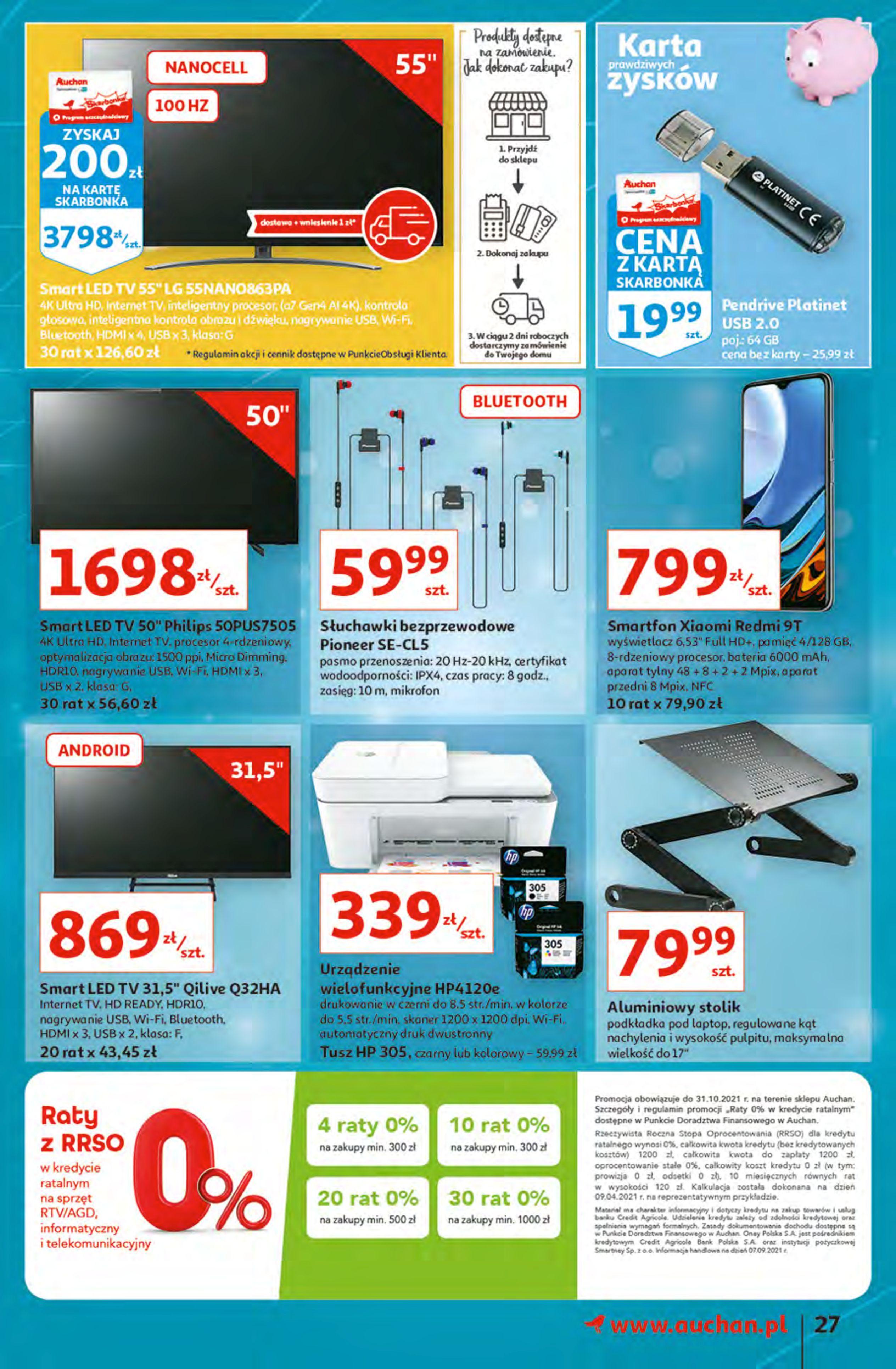 Gazetka Auchan: Gazetka Auchan - Hiperoszczędzanie z Kartą Skarbonka 2 Hipermarkety 2021-10-14 page-27
