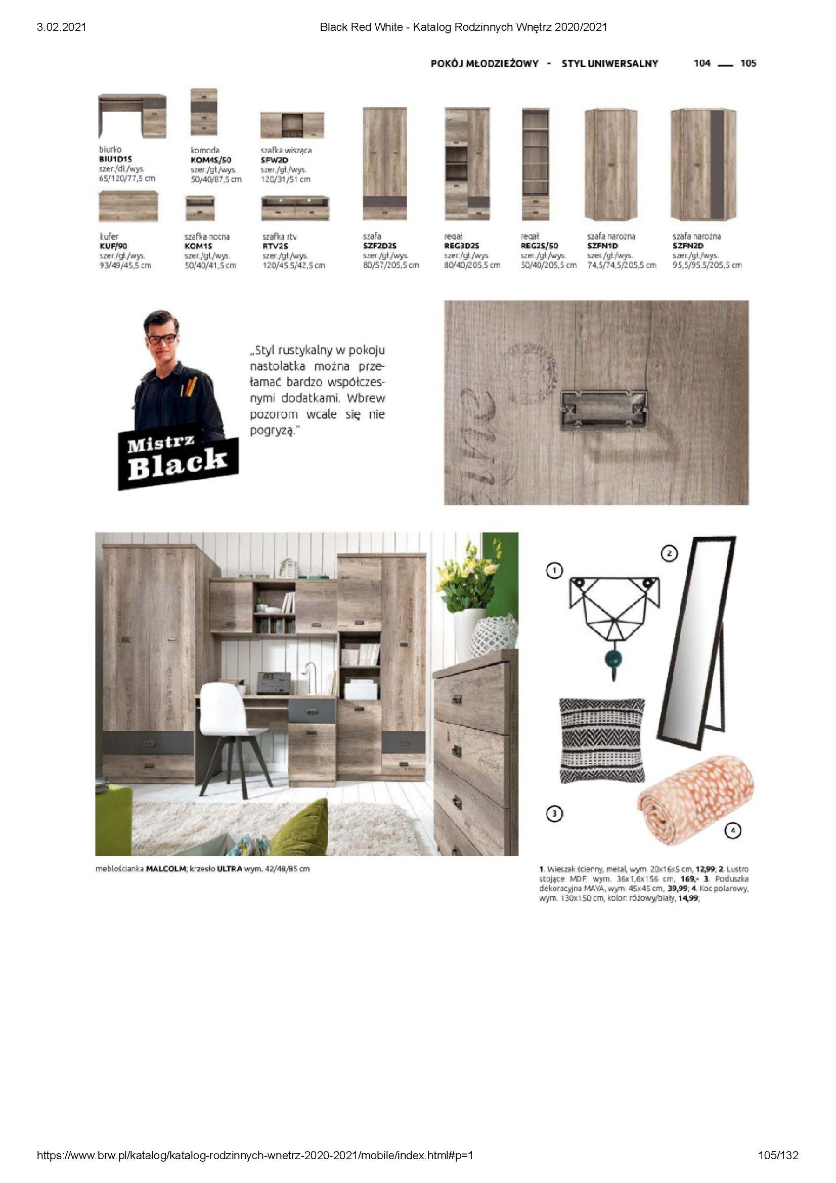 Gazetka Black Red White: Katalog rodzinnych wnętrz 2021-01-01 page-105