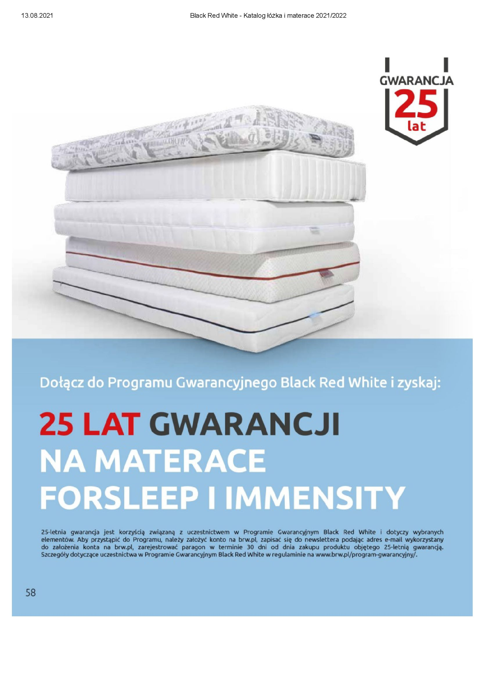 Gazetka Black Red White: Katalog Black Red White - Łóżka i Materace 2021-08-13 page-58