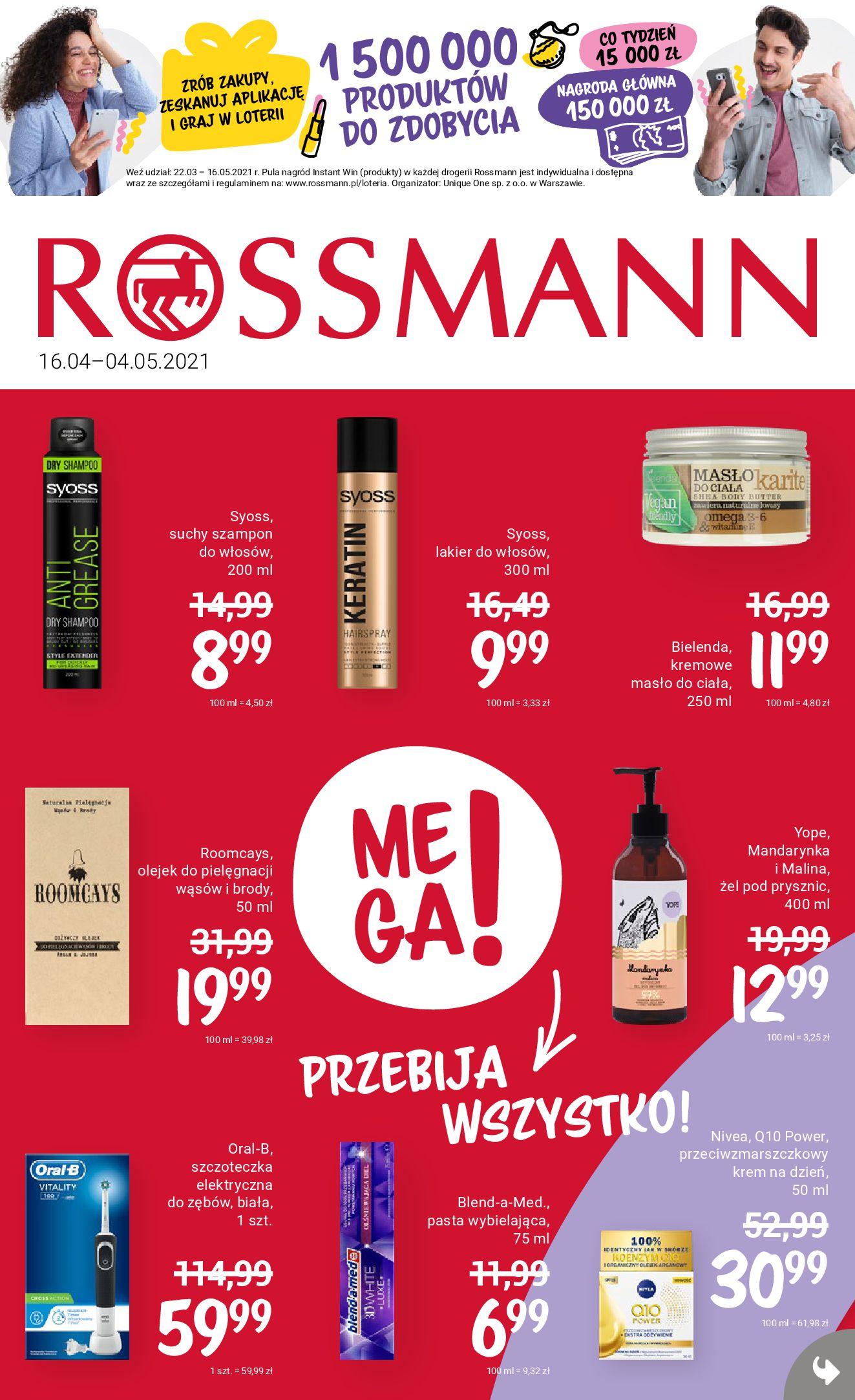 Rossmann:  Oferta promocyjna od 15.04 15.04.2021