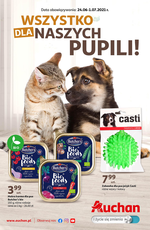 Auchan:  Gazetka Auchan  -  Wszystko dla naszych pupili Hipermarkety 23.06.2021