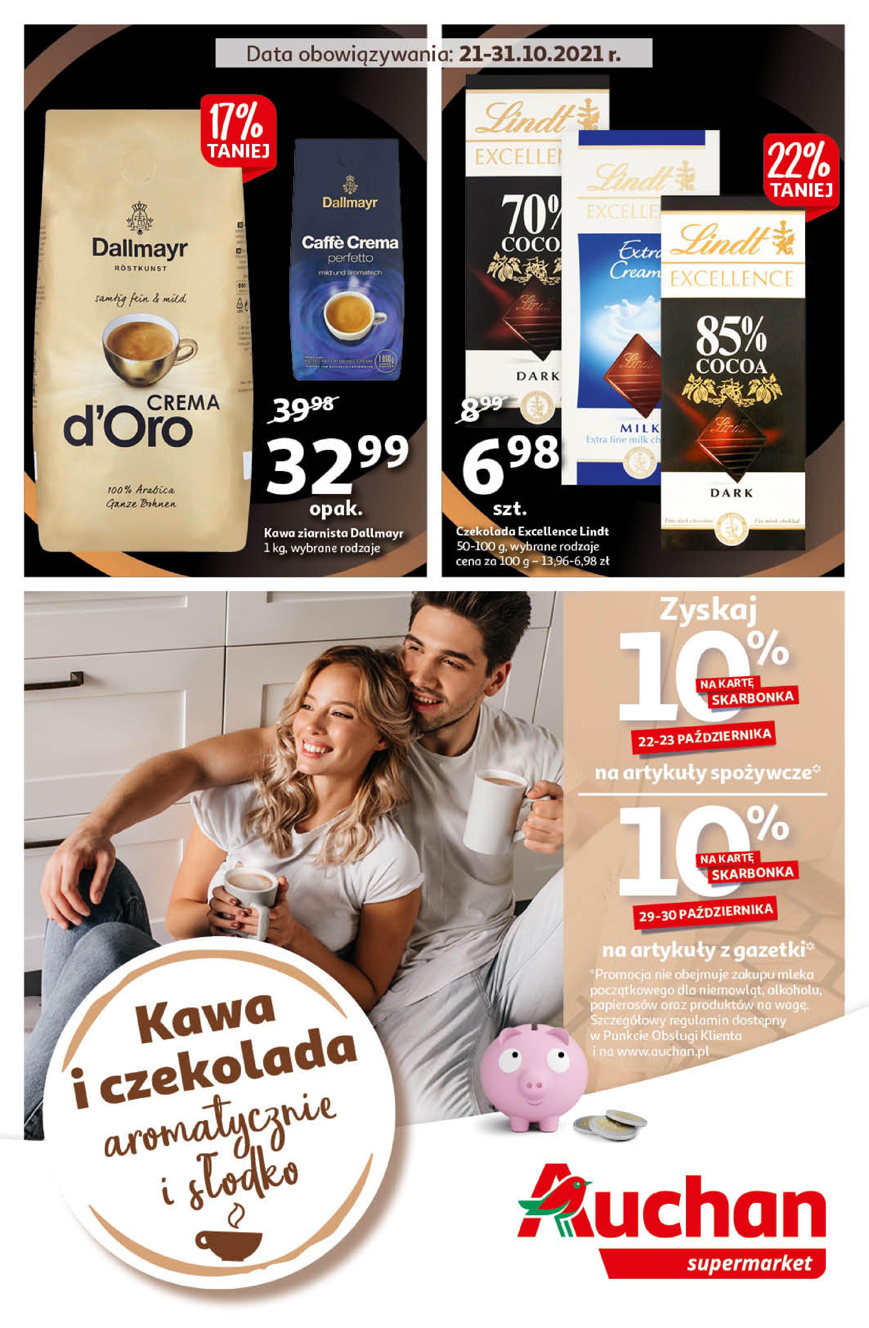 Gazetka Auchan: Gazetka Auchan - Kawa i czekolada aromatycznie i słodko Supermarkety - 20.10.2021