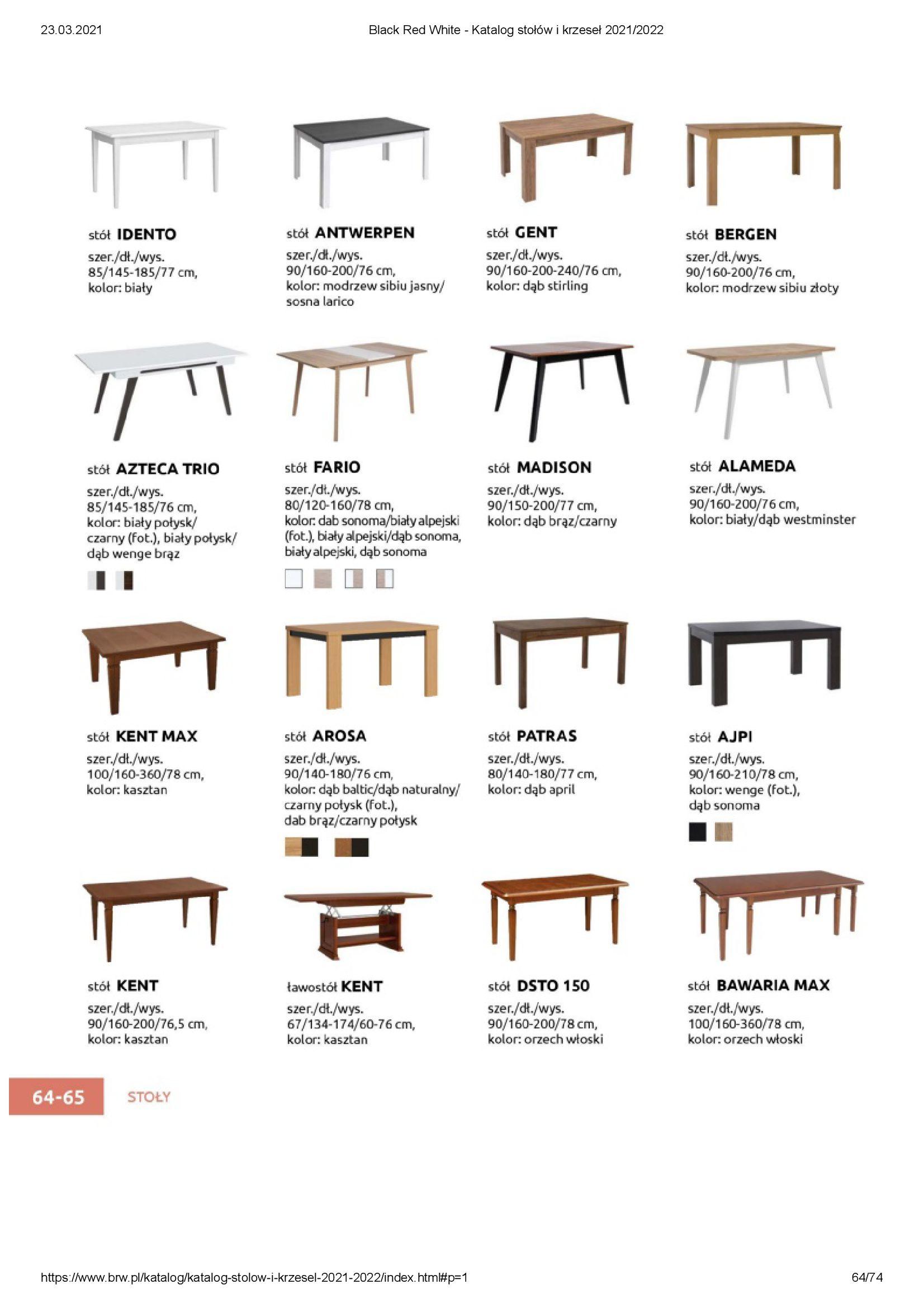 Gazetka Black Red White: Katalog stołów i krzeseł 2021-03-23 page-64