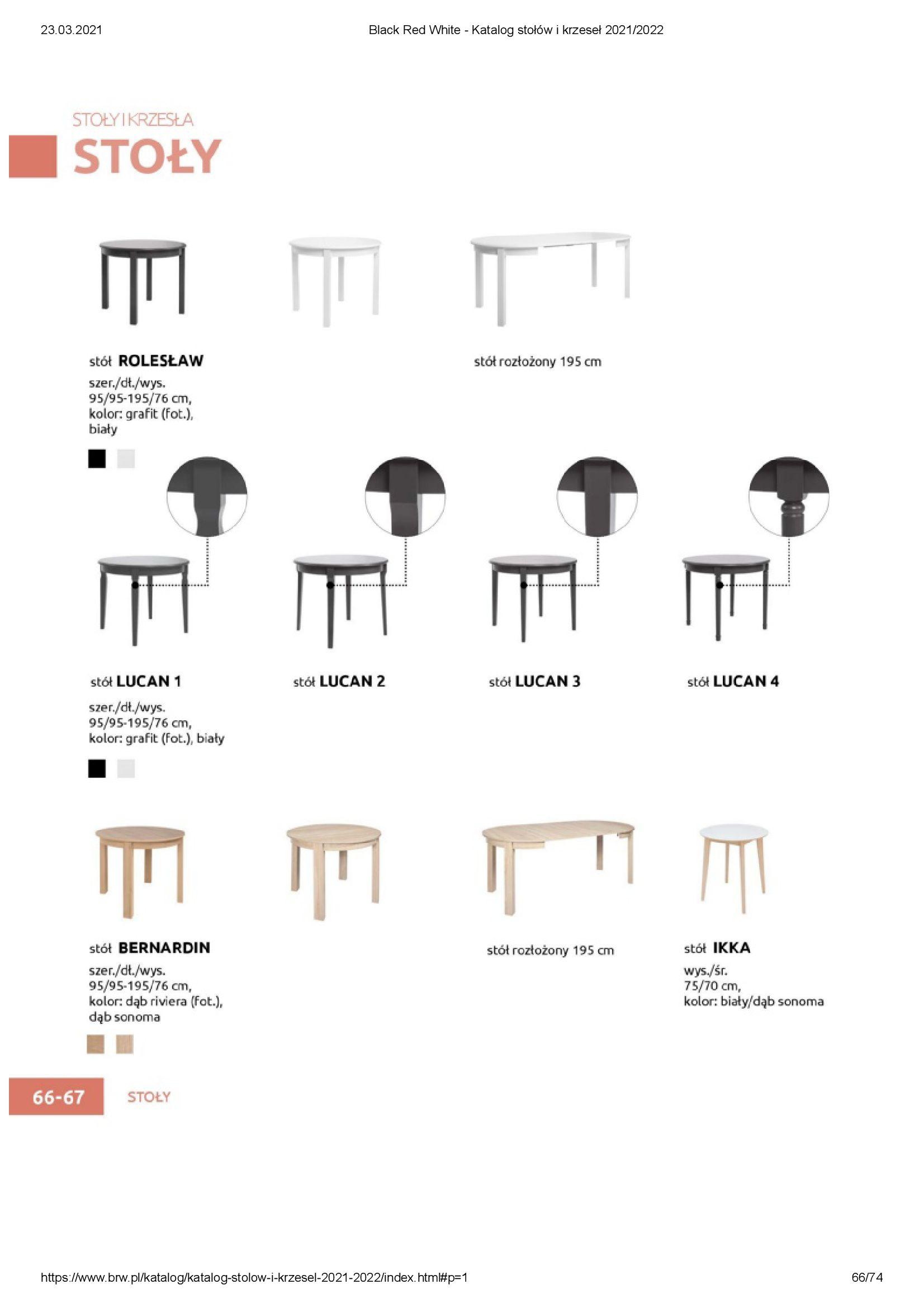 Gazetka Black Red White: Katalog stołów i krzeseł 2021-03-23 page-66