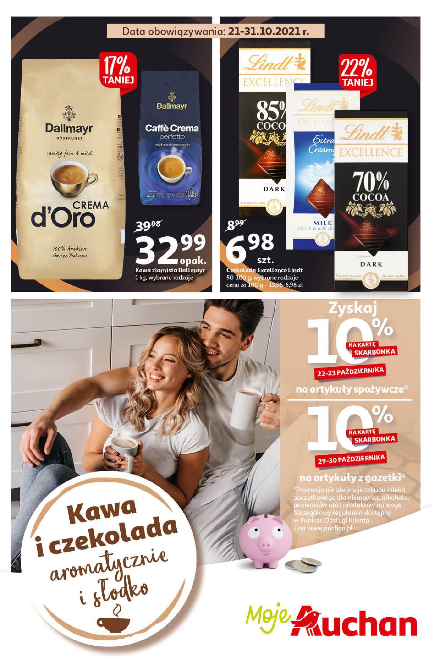 Gazetka Auchan: Gazetka Auchan - Kawa i czekolada aromatycznie i słodko Moje Auchan - 20.10.2021