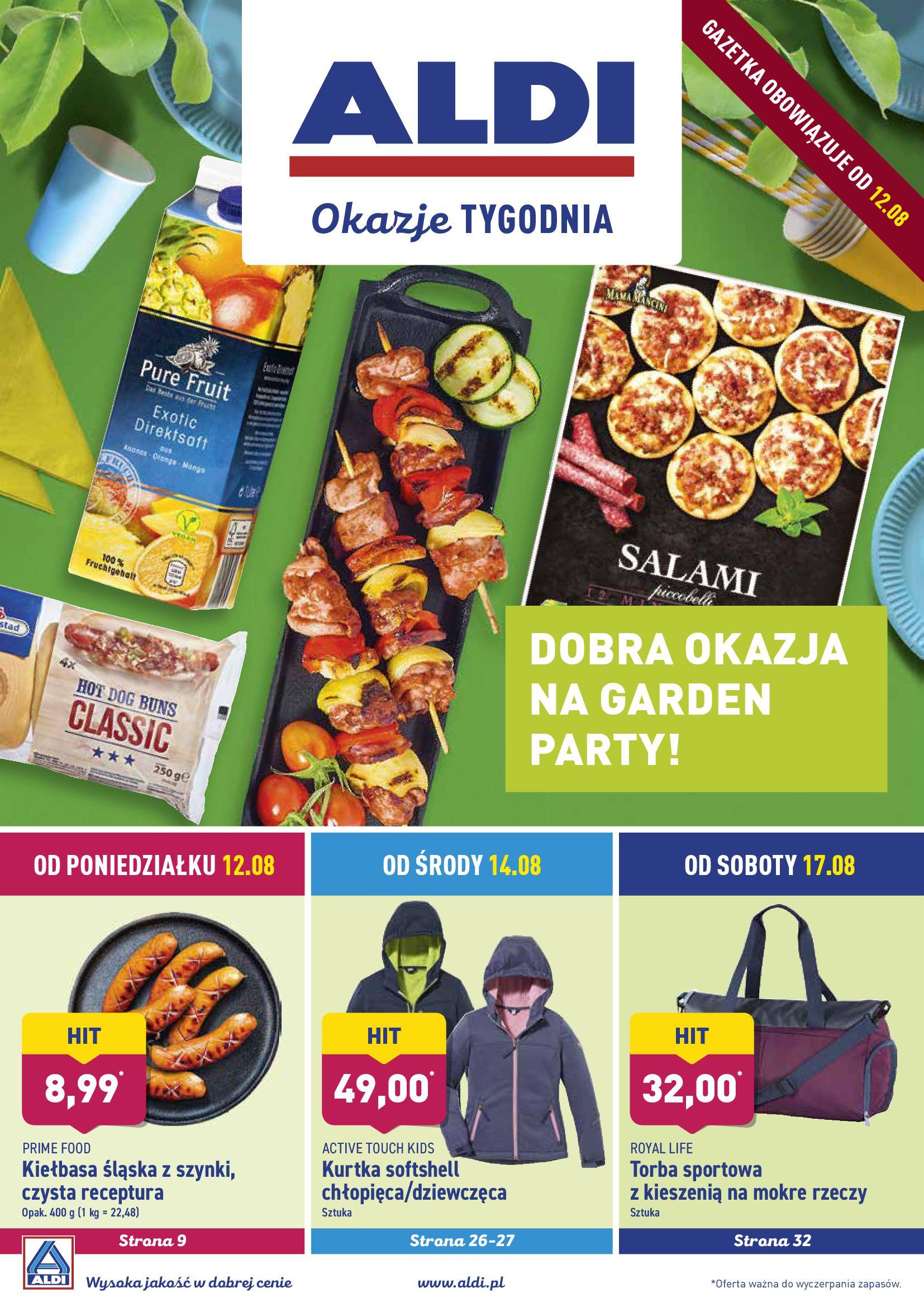 Gazetka Aldi - DOBRA OKAZJA NA GARDEN PARTY!-11.08.2019-18.08.2019-page-1