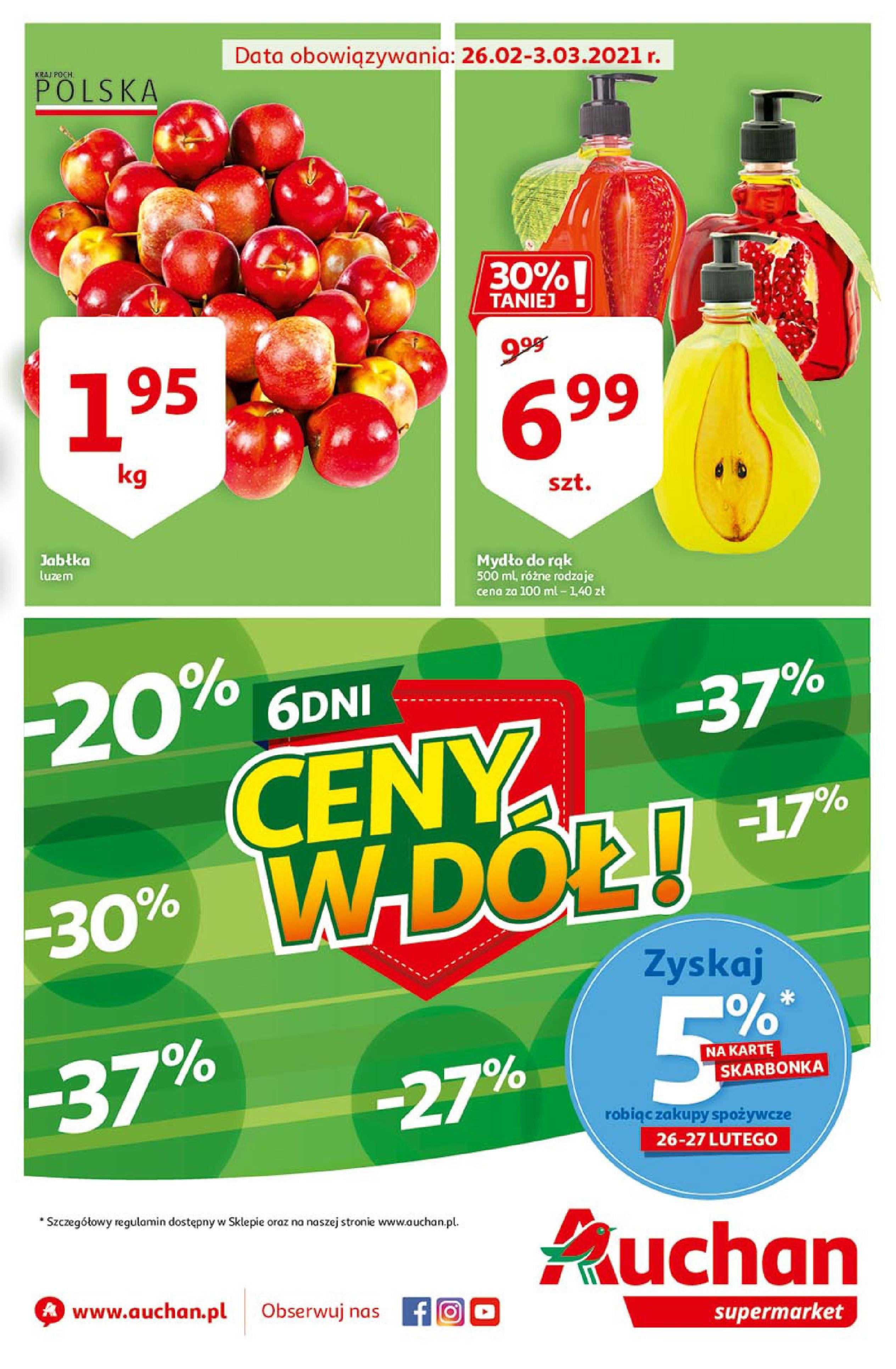 Gazetka Auchan: Uroda Supermarkety 2021-02-26 page-1