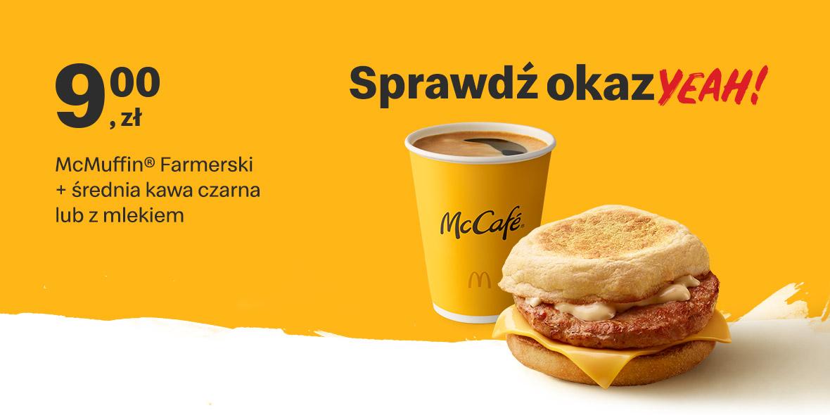 McDonald's: 9 zł McMuffin® Farmerski + kawa czarna lub z mlekiem 18.10.2021