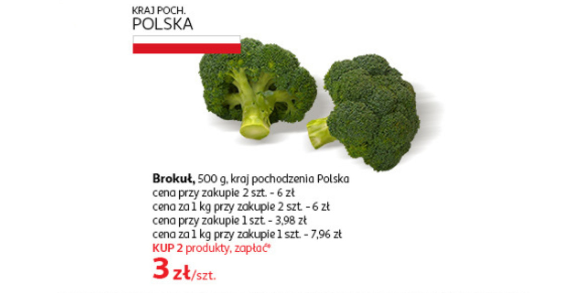 Auchan: 3 zł brokuł sztuka przy zakupie 2 szt. 21.09.2021