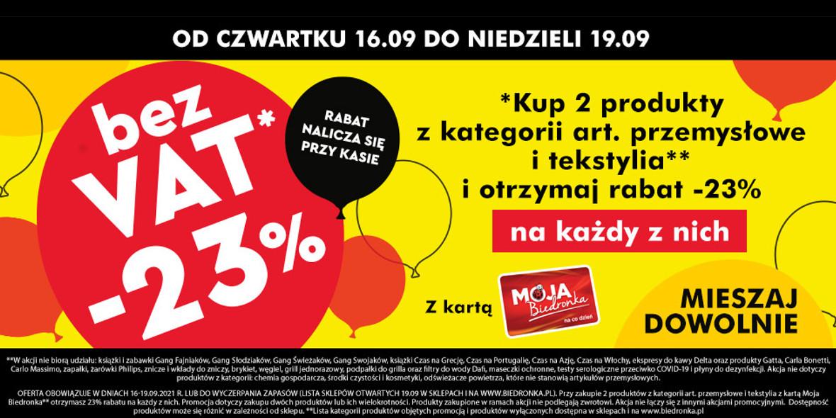 Biedronka:  Bez VAT na art. przemysłowe i tekstylia 16.09.2021