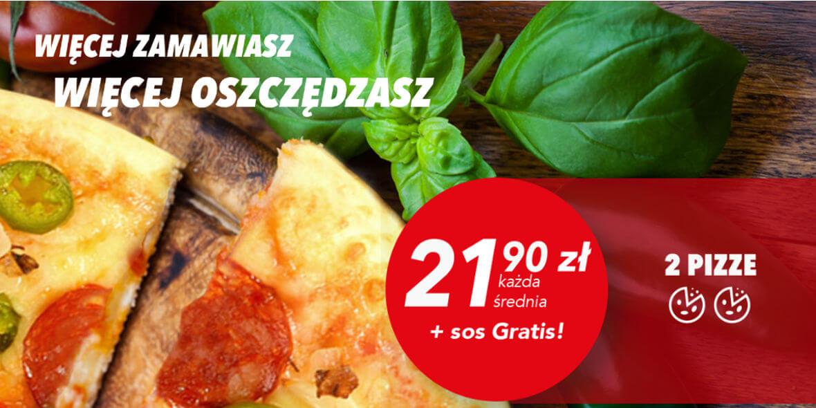 21,90 zł każda średnia pizza przy zakupie dwóch