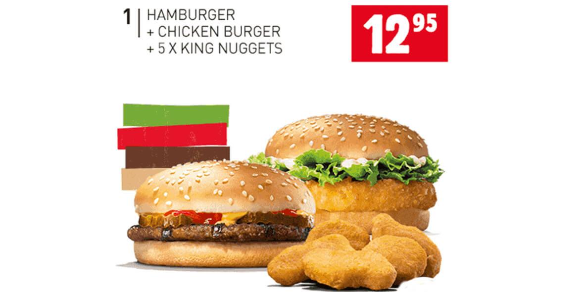 za Hamburger + Chicken Burger + 5x Nuggets