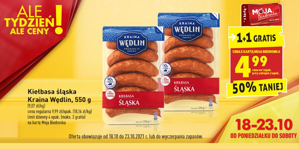 Biedronka:  -50% na kiełbasę śląską z szynki 18.10.2021