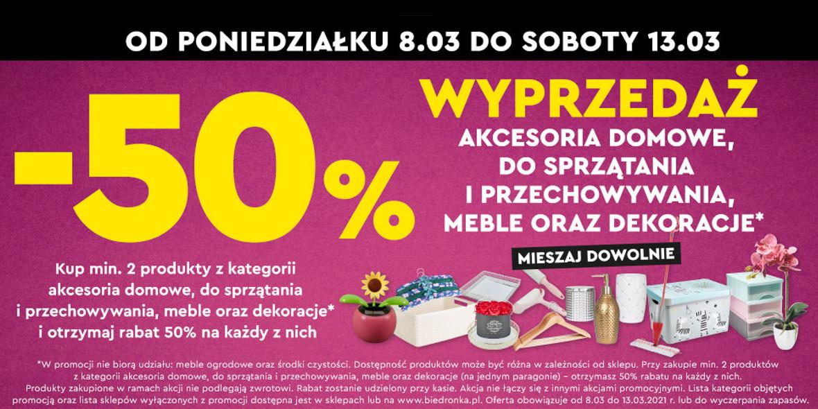 Biedronka: -50% na produkty z kategorii akcesoria domowe 08.03.2021