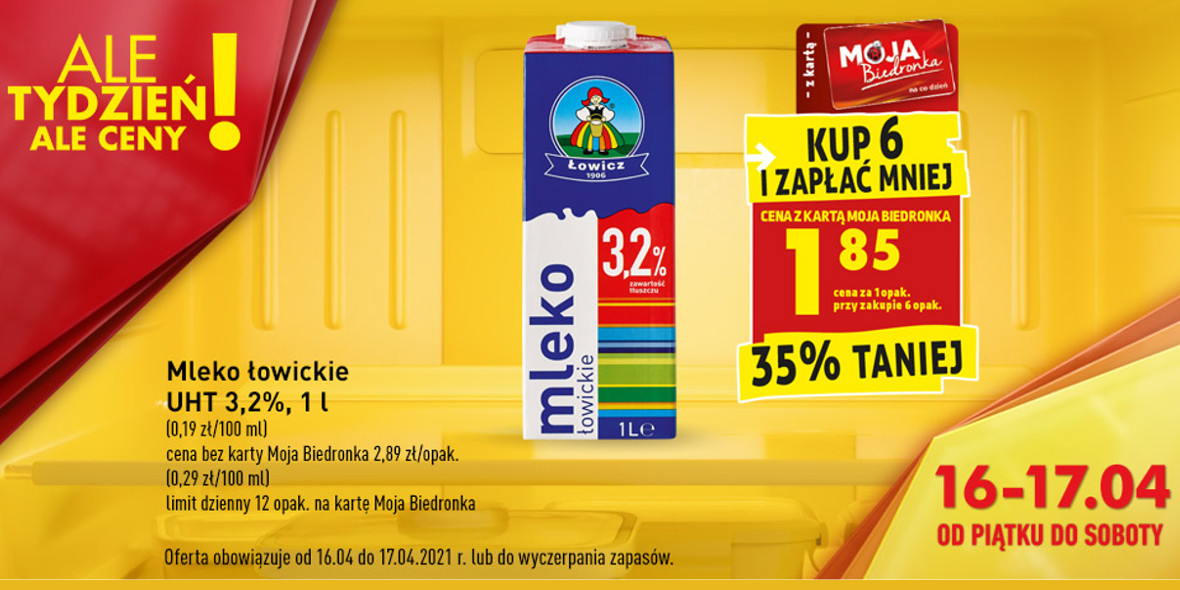 Biedronka:  -35% na mleko łowickie UHT 3,2% 16.04.2021