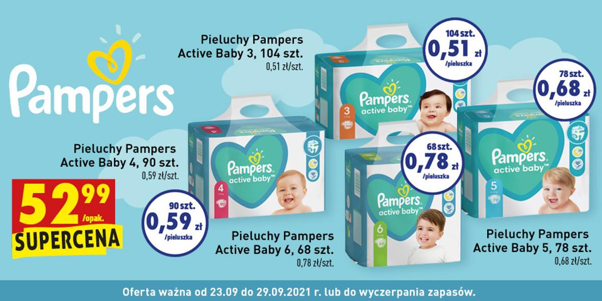 Biedronka: 52,99 zł za Pampers Active Baby 25.09.2021