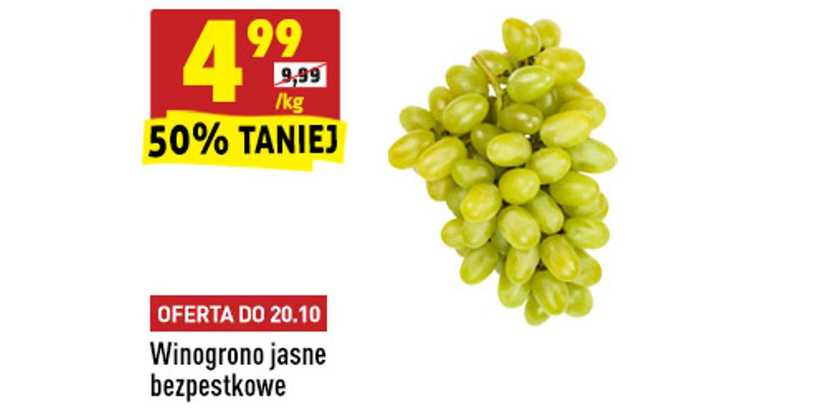 Biedronka:  -50% na winogrono jasne bezpestkowe 18.10.2021