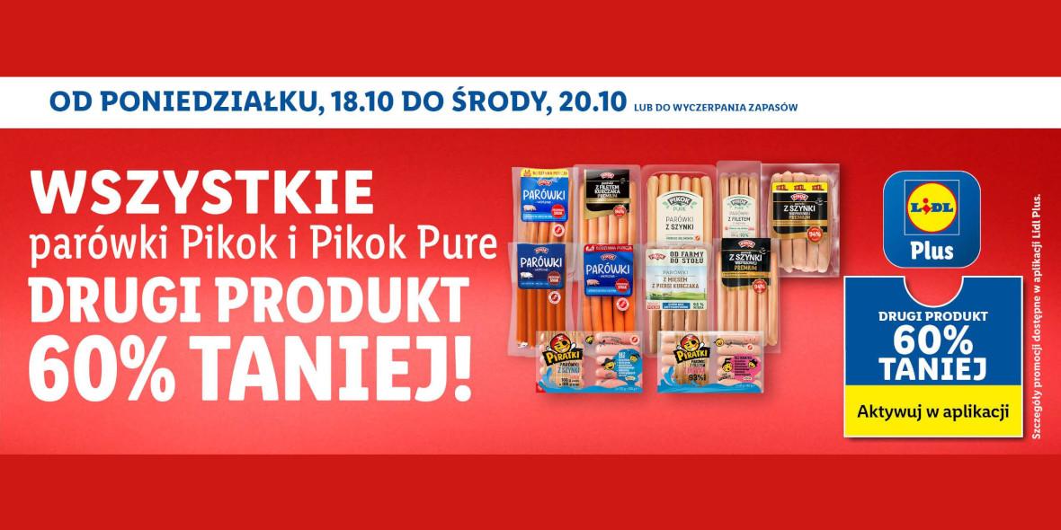Lidl: -60% na parówki marki Pikok i Pikok Pure 18.10.2021