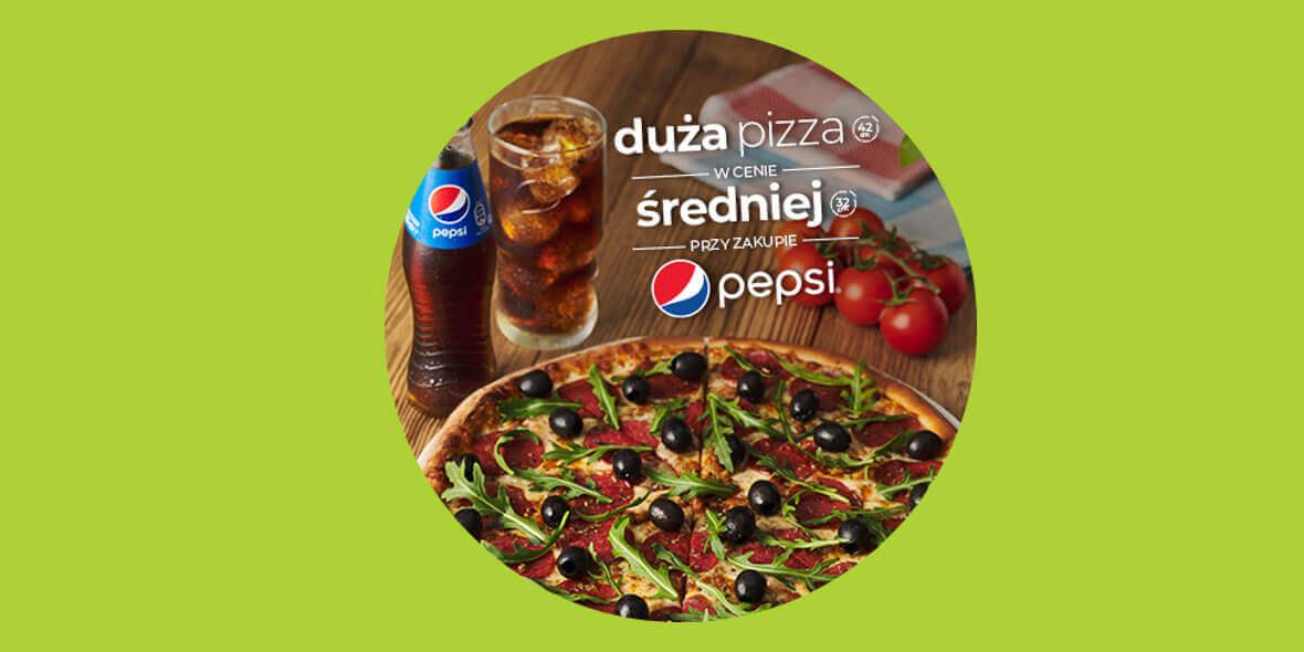 Duża pizza w cenie średniej przy zakupie napoju