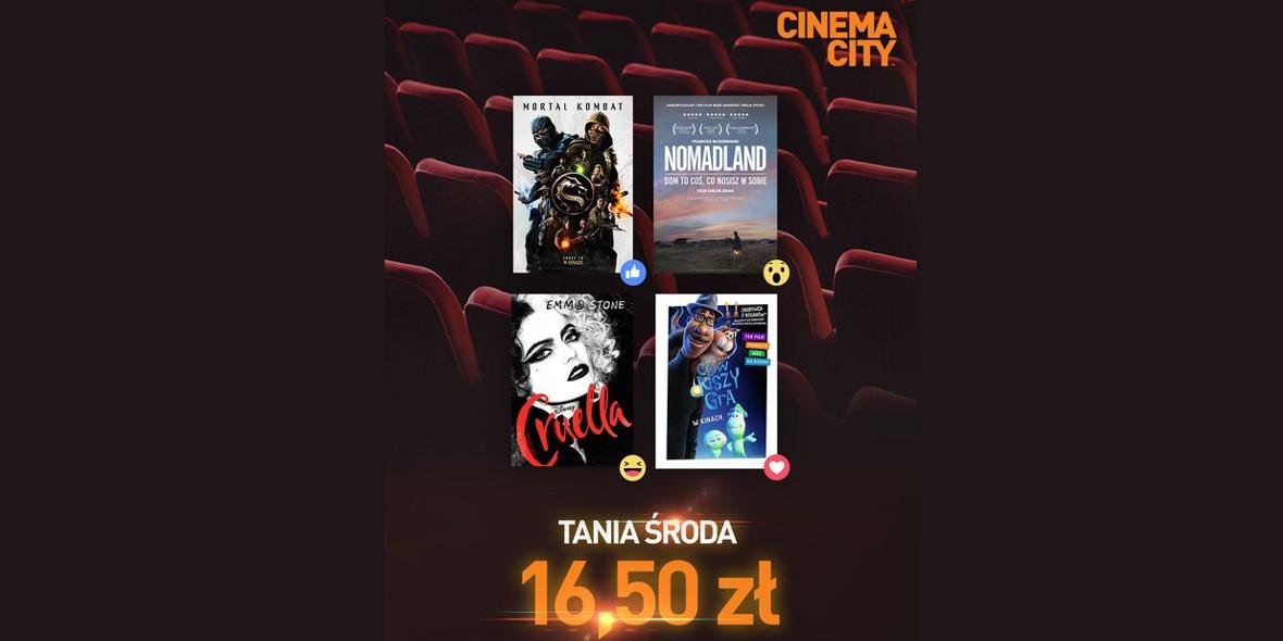 Cinema City:  16,50 zł za bilet do kina 02.06.2021