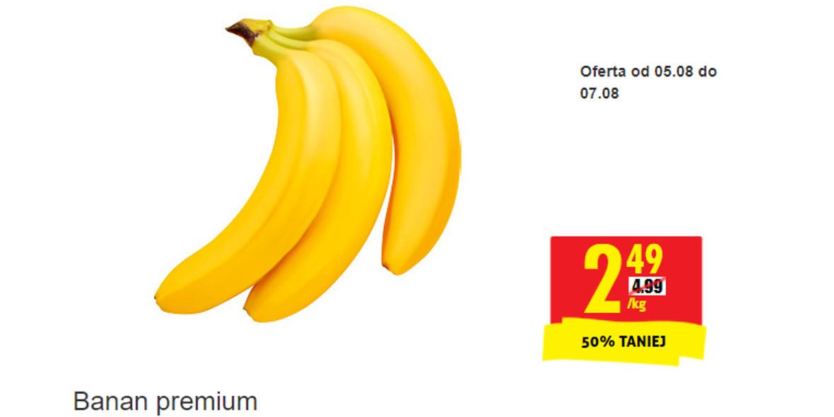 Biedronka: -50% na banany premium 05.08.2021