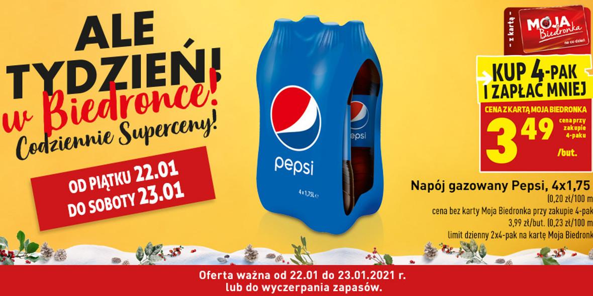 Biedronka: 3,49 zł za napój gazowany Pepsi 22.01.2021