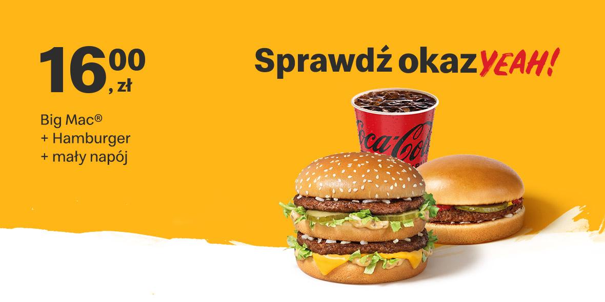 McDonald's: 16 zł Big Mac® + Hamburger + mały napój 11.10.2021