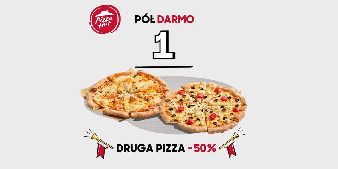Pizza Hut:  -50% na drugą pizzę oraz drugi produkt 13.09.2021