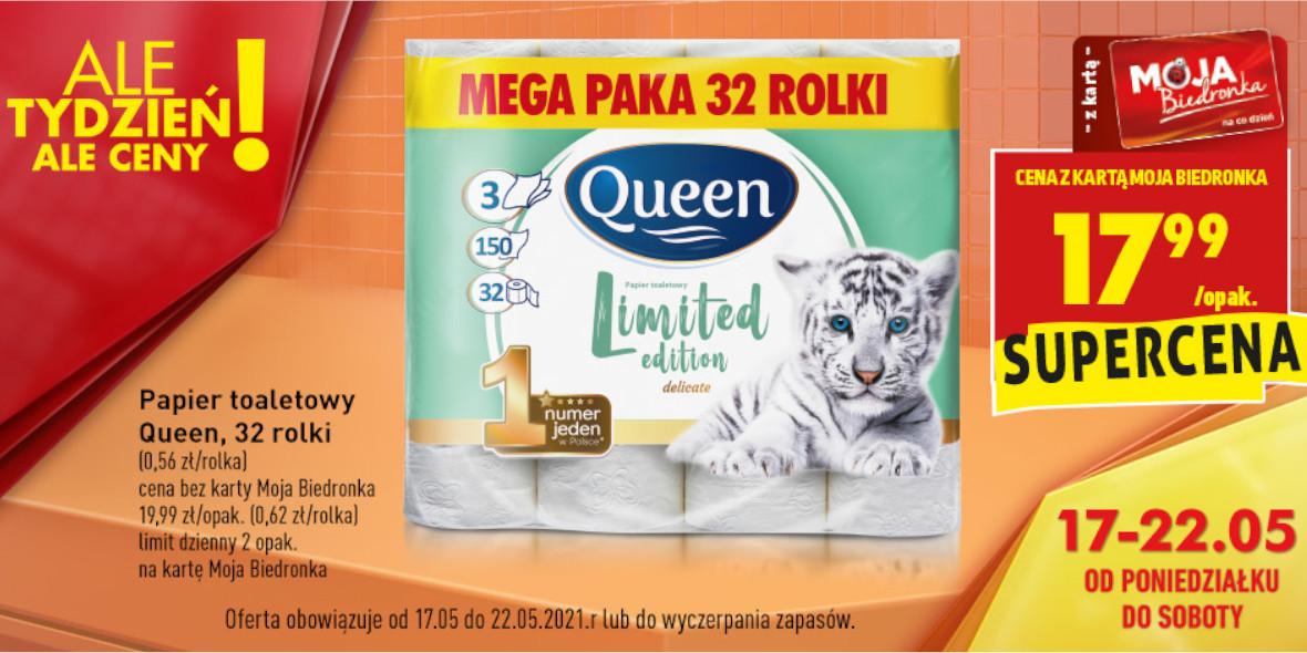 Biedronka: 17,99 zł za 32 rolki papieru toaletowego 17.05.2021