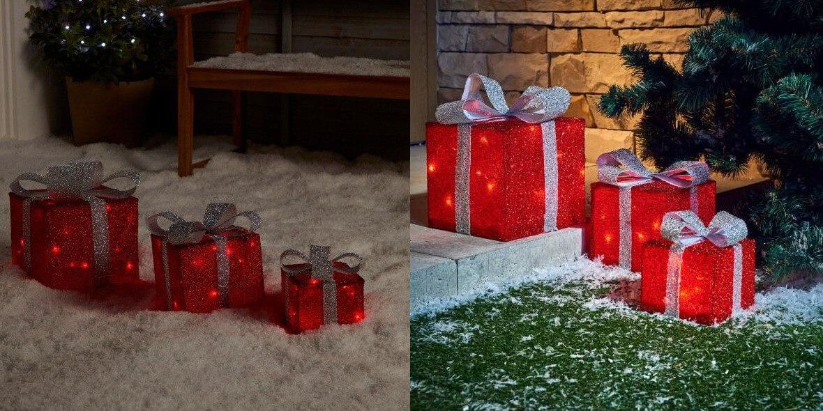 za zewnętrzne lampki LED w kształcie prezentów
