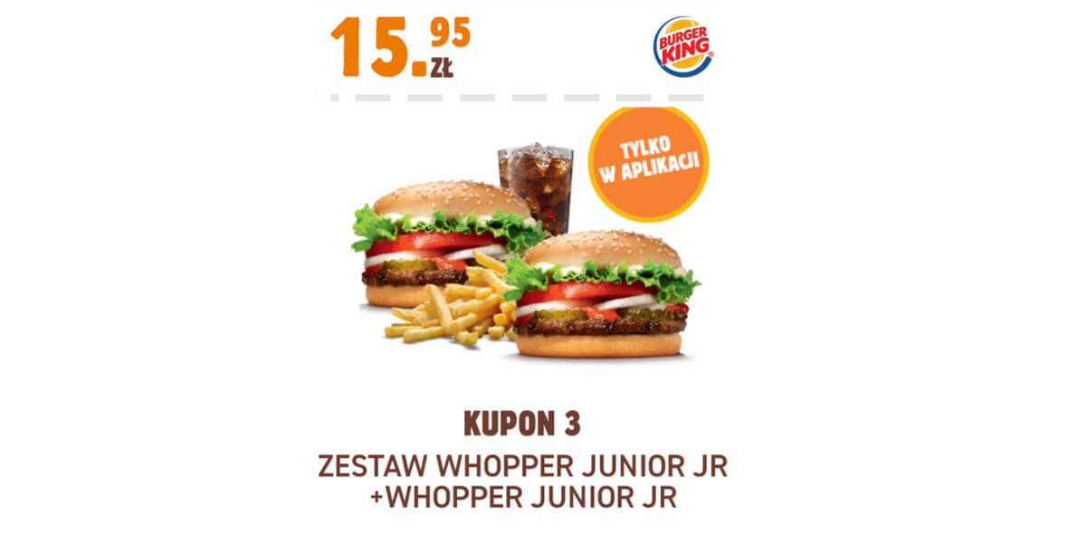 Burger King: 15,95 zł zestaw Whopper Junior JR + Whopper Junior JR 01.02.2021