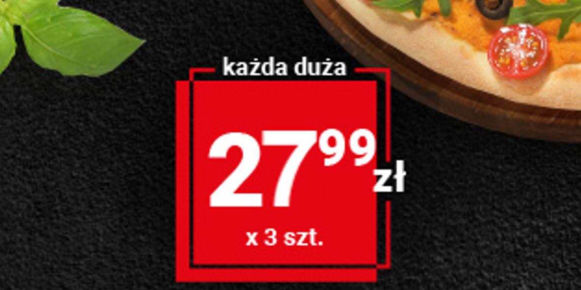 Telepizza: 27,99 zł każda duża pizza przy zakupie trzech