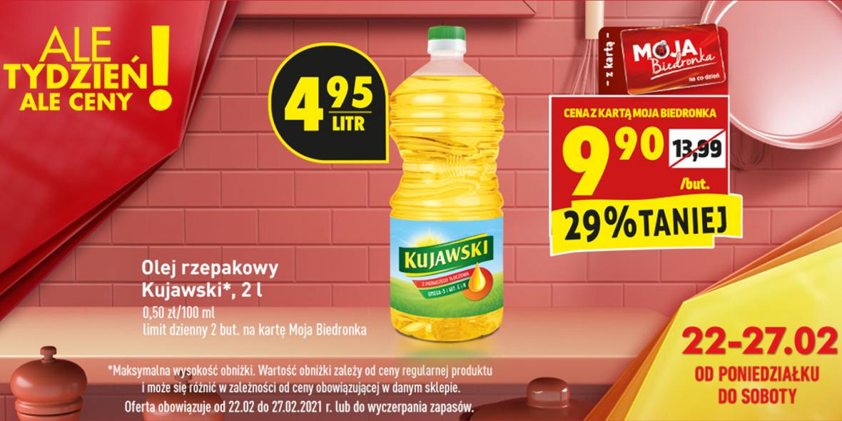 Biedronka: -29% na olej Kujawski 22.02.2021