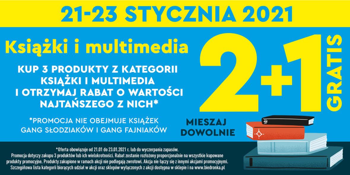Biedronka:  2+1 książki i multimedia 21.01.2021