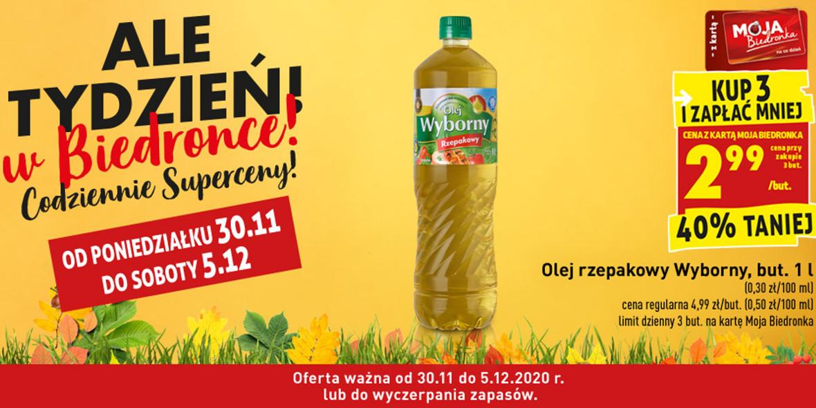 Biedronka: -40% na olej rzepakowy 30.11.2020