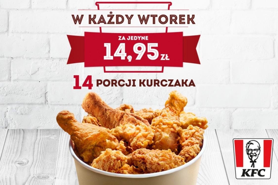KFC: 14,95 zł 14,95 zł za  kubełek - 14 porcji kurczaka 09.02.2021