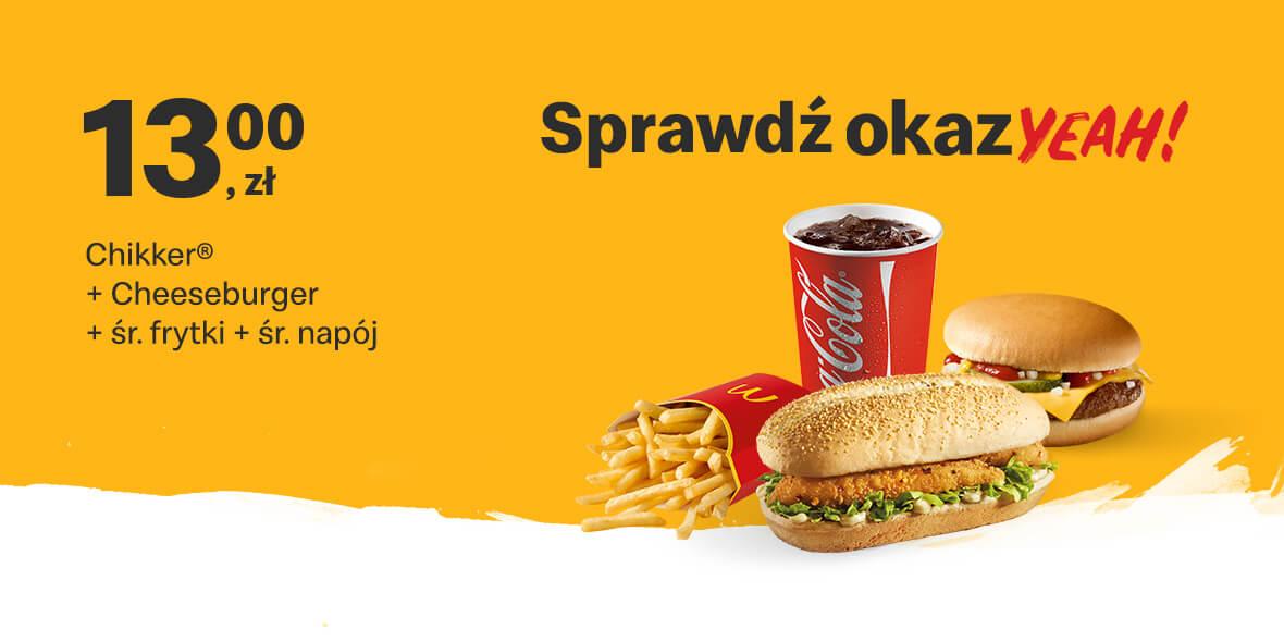 Chikker®+Cheeseburger+napój+frytki