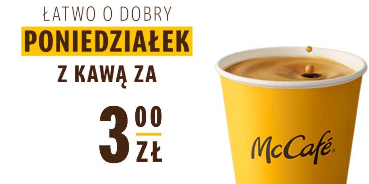 McDonald's:  3 zł za dowolną kawę w poniedziałek 24.05.2021