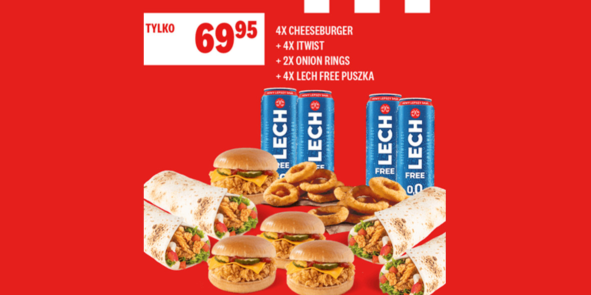 KFC: 69,95 zł za zestaw 4 x Cheeseburger