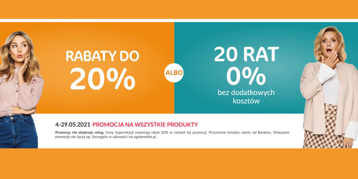 Agata Meble:  Do -20% na wszystkie produkty 04.05.2021