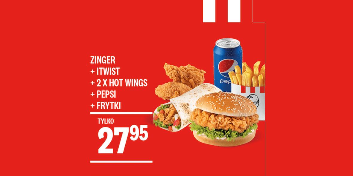 KFC: 27,95 zł Zinger + iTwist + 2xHot Wings + Frytki + Puszka