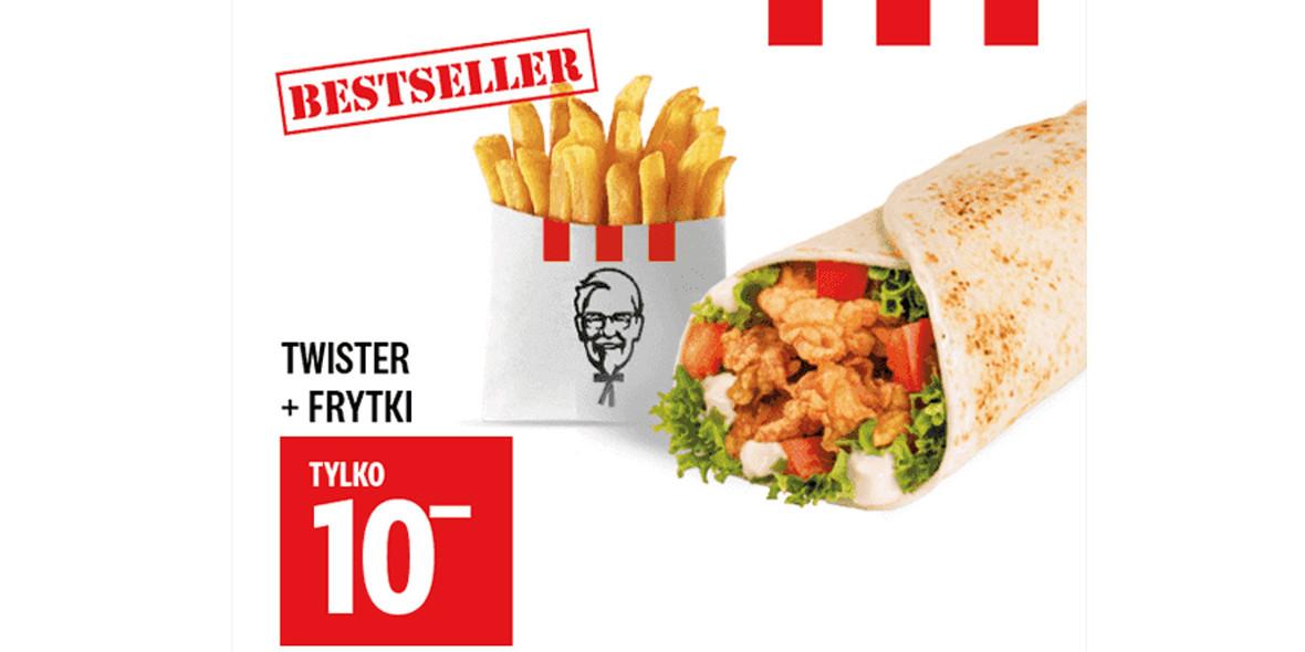 KFC: 10 zł Twister + Frytki 30.12.2020