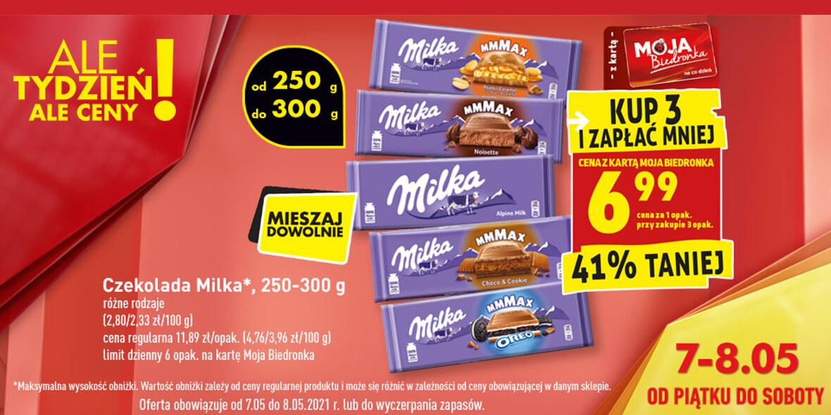 Biedronka:  -41% na czekoladę Milka 07.05.2021