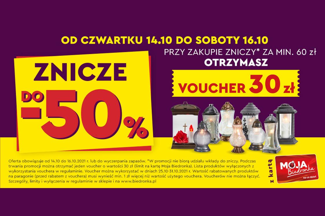 :  Do -50% na znicze + voucher o wartości 30 zł