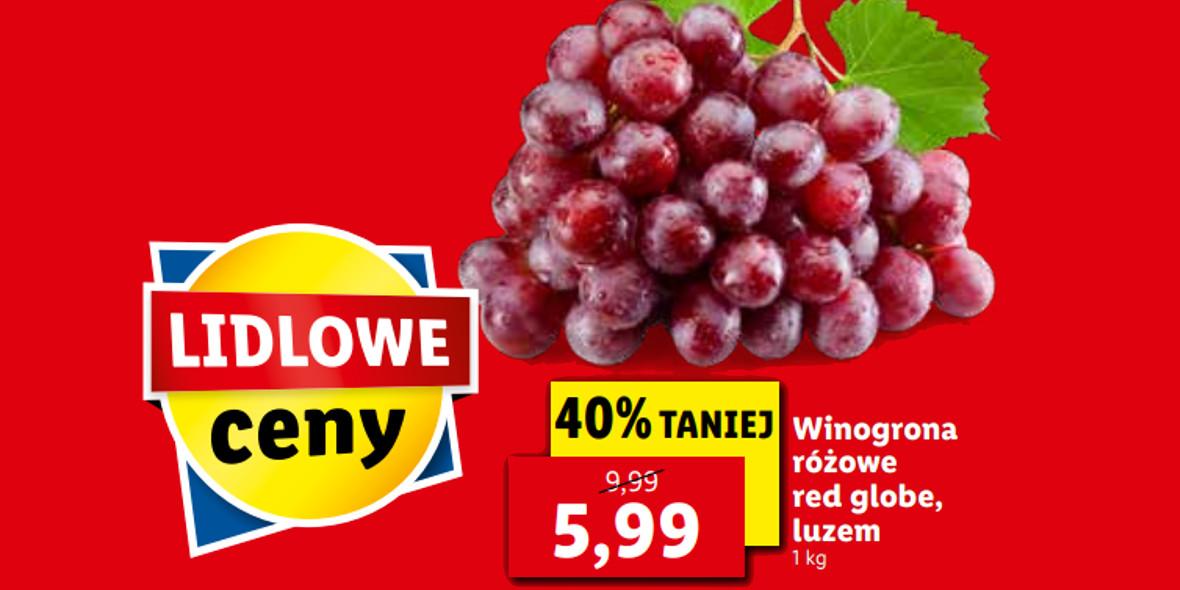 Lidl: -40% na winogrona różowe 18.10.2021