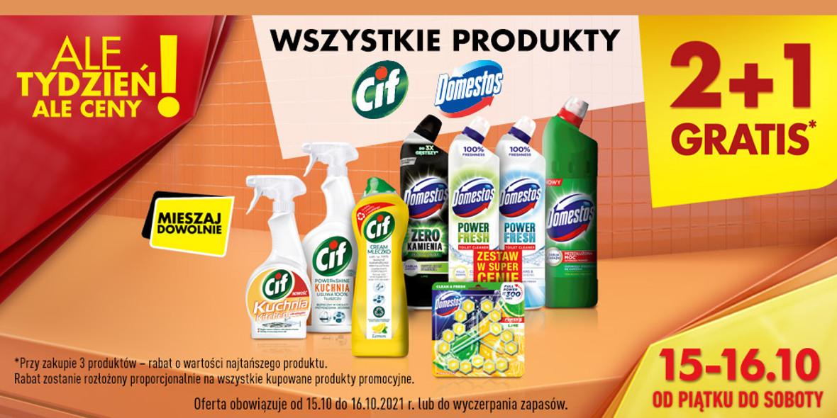 Biedronka:  2 + 1 na wszystkie produkty marek Domestos i Cif 15.10.2021