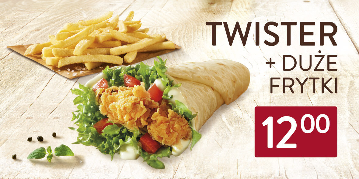 KFC: 12 zł za Twister + duże frytki